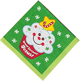 Fun Express - Happy Birthday Jesus Cupcake Bev Napkin for Christmas - Party Supplies - Print Tableware - Print Napkins - Christmas - 16 Pieces