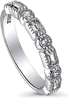 BERRICLE Rhodium Plated Sterling Silver Cubic Zirconia CZ Art Deco Anniversary Wedding Half Eternity Band Ring