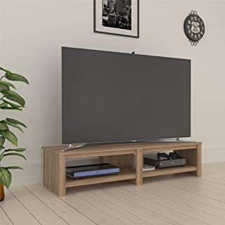 Ameriwood Basics Collection Tally TV Stand for 74 Inch in Weathered Oak