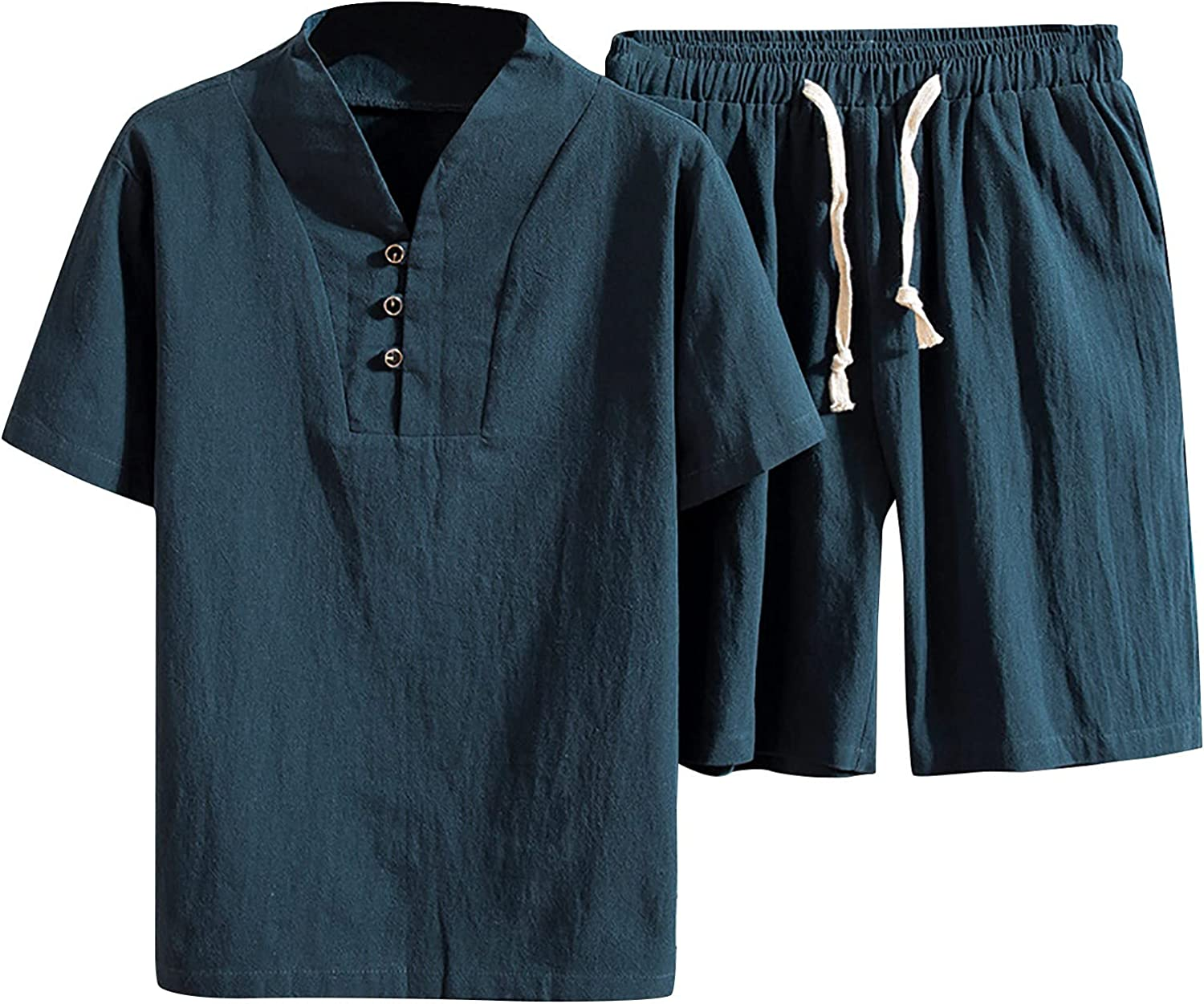 Mens Casual Short Sets Outfits 2 Piece Summer Big and Tall Solid Color Short-Sleeved T-Shirt Plus Size Casual Set