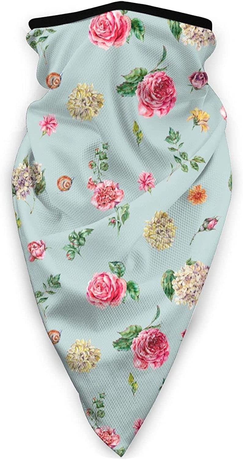 Pink Rose Flowers Neck Gaiter Bandnas Face Cover Uv Protection Prevent bask in Ice Triangle Scarf Headbands Perfect for Motorcycle Cycling Running Festival Raves Outdoors