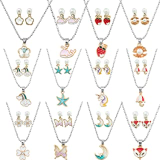 SOTOGO 12 Sets Clip On Earrings and Necklace Adjustable Earrings Necklace Girl Play Earrings Necklace for Little Girls