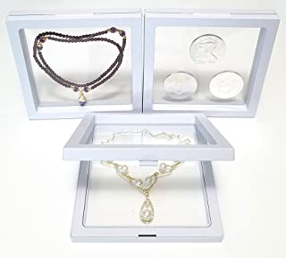 JM Large Pack of 3 pcs 5.5 x 5.5 x 0.75 Inches Transparent 3D Floating Frame Display Holder/Box/Frames for Challenge Coins, AA Medallions, Antique, Jewelry, Gift, White