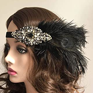 Zoestar Flapper Headband 1920s Feather Headpiece Gatsby Crystal Headpiece Feather Hair Accessories for Women