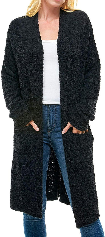 Thread & Supply Women's Open Front Soft Plush Cardigan(Black)