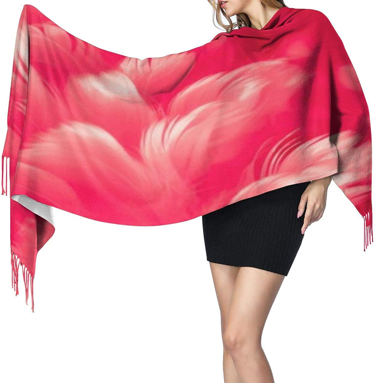 Cashmere fringed scarf Fuchsia Feathers winter extra large scarf