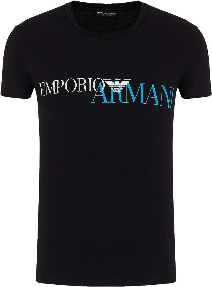 Emporio armani,  maglietta,  t-shirt per uomo , manica corta, 95% cotone, 5% elastan , blu  111035 0A516