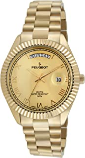 14K All Gold-Plated Day Date Roman Numeral Stainless Steel Big Face Fluted Bezel Luxury Watch 1029G