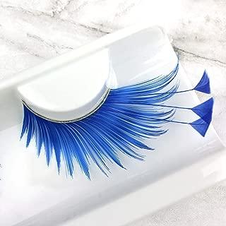 Elegant Lashes F878 Premium Blue Feather False Eyelashes Halloween Dance Rave Costume