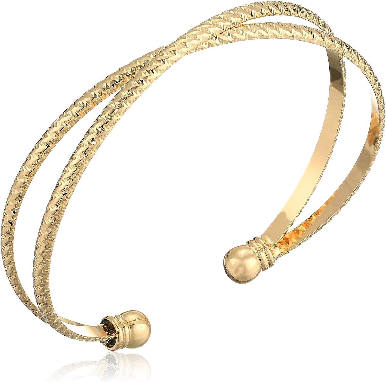 Panacea Criss Cross Cuff Bracelet, Gold, Expandable