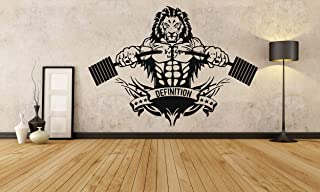 Wall Decals Decor Lion Crossfit Fitness Club Gym Logo Sport Barbell Workout Motivation Muscle Training Custom Room Vinyl S...