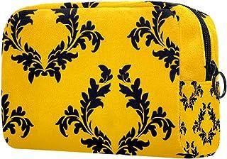 Classic Yellow Pattern Makeup Bag Toiletry Bag for Women Skincare Cosmetic Handy Pouch Zipper Handbag