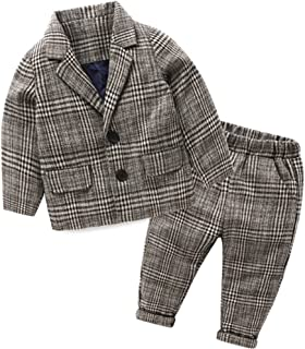 SPRMAG キッズ スーツ チェック柄 背広 ズボン セットアップ 上下 男の子 ラシャ 厚手 秋 西洋式 フォーマル 80-140
