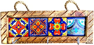 Casa Fiesta Designs Mexican Key Holder with Metal Hooks and Colorful Talavera Tiles - Mexican Style - Talavera Wall Art - Mexican Home Decor - Assorted Tiles - Portallaves Multi 4 Azulejos