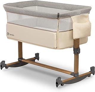Lionelo Leonie Beistellbett Baby Schaukelfunktion 5-stufige Höhenverstellung Schräglage Matratze abnehmbare Seitenwand Räder Seitentasche Transporttasche Beige