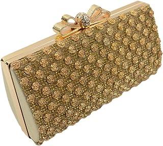 The New Bride Banquet Dinner Bag Handbag Bag Rose Diamond Ring,Golden