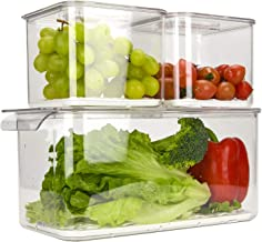 Ambergron Produce Saver for Fruit Vegetable, Lettuce Keeper Storage Container for Fridge Refrigerator, Set of 3, BPA-Free,...