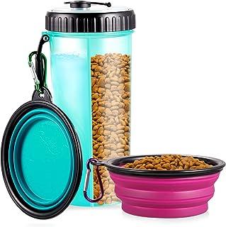 WOMGF Botella de Agua para Perros Portatil Envase de Comida para Mascotas para al Aire Libre Caminar Viajar con 2 Plegable Tazones