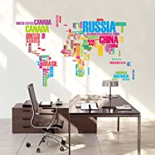 Colorful Letters World Map Wall Stickers Living Room Home Decorations Creative Decal Mural Wall Art