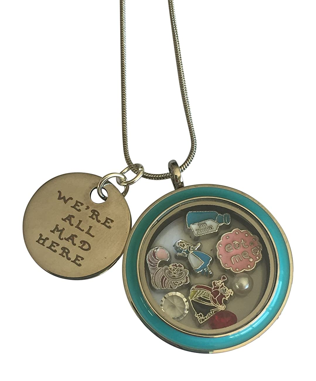 Were All Mad Here Alice in Wonderland Jewelry Necklace Floating Locket in Gift Box ~ Stainless Steel in Custom Stamped Gift Box