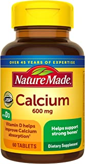 Nature Made Calcium 600 mg with Vitamin D3 for Immune Support, Tablets, 60 Count, helps support Bone Strength