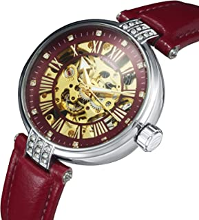 Caluxe Top Brand Luxury Women Watches Auto Mechanical Skeleton Dial Leather Strap Crystal Dress Elegant Ladies Wristwatch