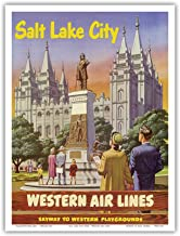 Salt Lake City, Utah - Western Air Lines - Skyway to Western Playgrounds - Temple Square Brigham Young Statue - Vintage Airline Travel Poster - Master Art Print - 9in x 12in