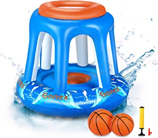 Gonex Pool Basketball Hoop,Swimming Pool Party Toys Basketball Indoor Outdoor Lawn Games for Kids Teens Adults with Hand Pump and 2 Water Balls