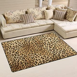 ALAZA Non-Slip Area Rugs Home Decor, Leopard Animal Print Floor Mat Living Room Bedroom Carpets Doormats 60 x 39 inches