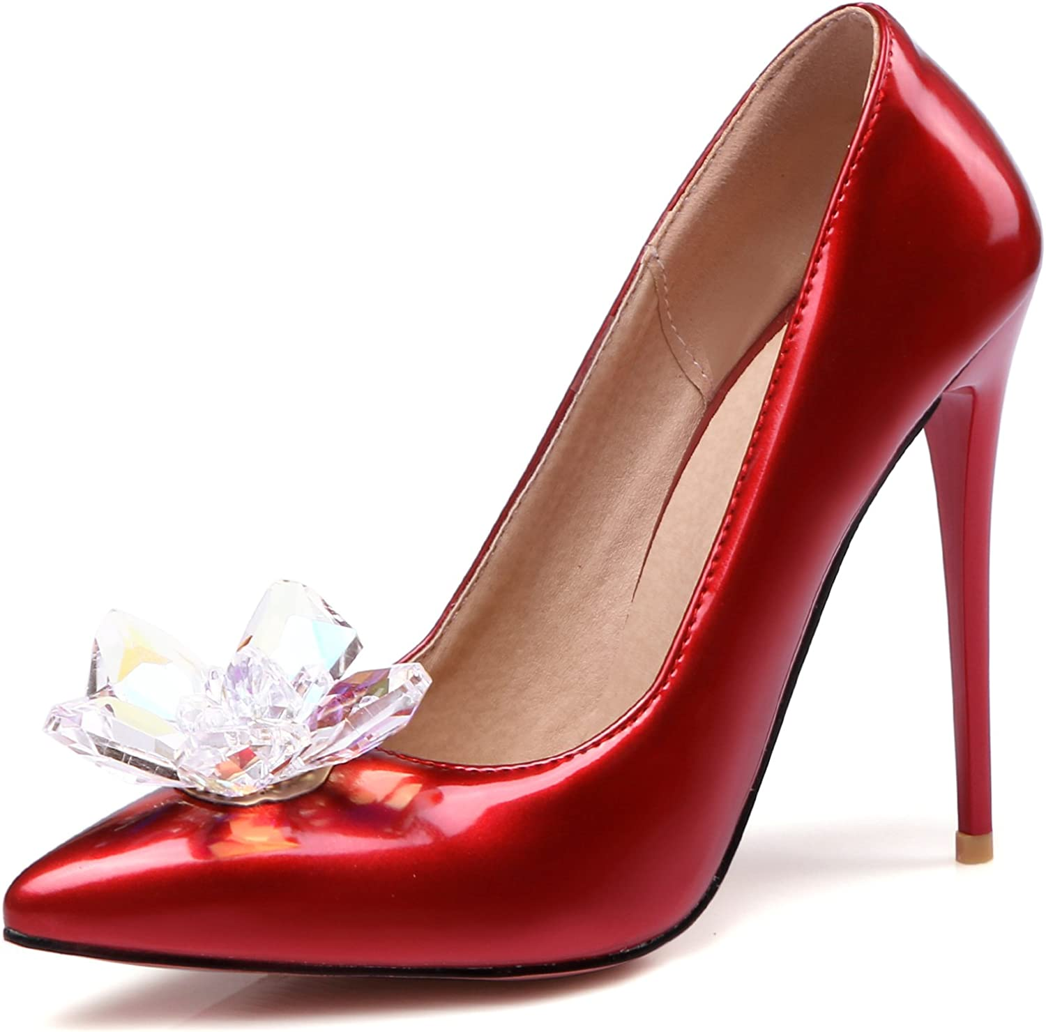 Rongzhi Womens Pumps High Heels Stilettos Shiny Crystal Flower Pointed Toe Slip On Party shoes