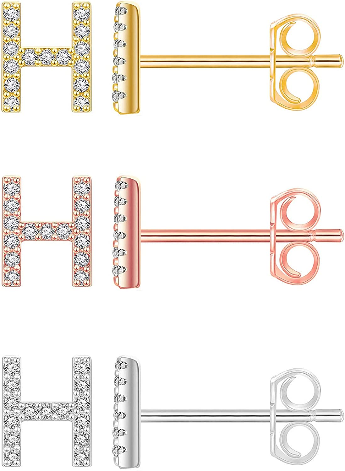 3 Pairs Initial Popular product Stud Earrings 14K Silver store Rose Gold Plated C