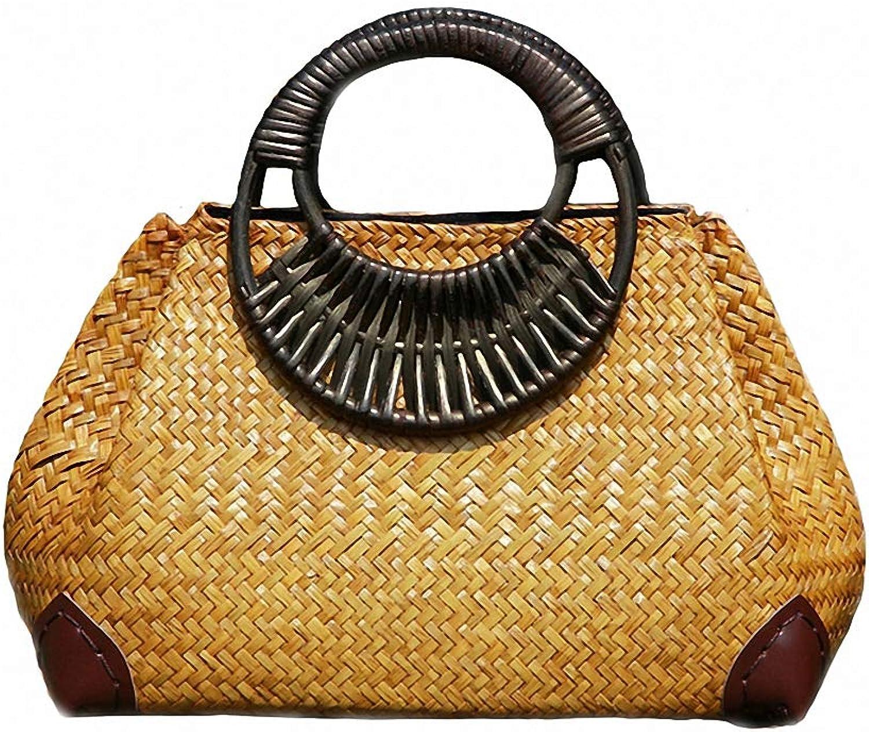 Nyusdar Women Straw Bags Female Bamboo Summer Beach Weave Handbag Lady Handmade Vintage Wood Handle Bag Travel Knitted Totes Bags