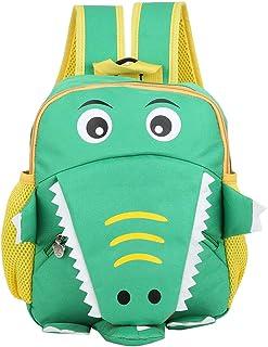 Mochilas escolares para niños, Kindergarten Mochila de viaje para niños con pequeño cocodrilo de dibujos animados para niños niños pequeños Niños Niñas(verde)