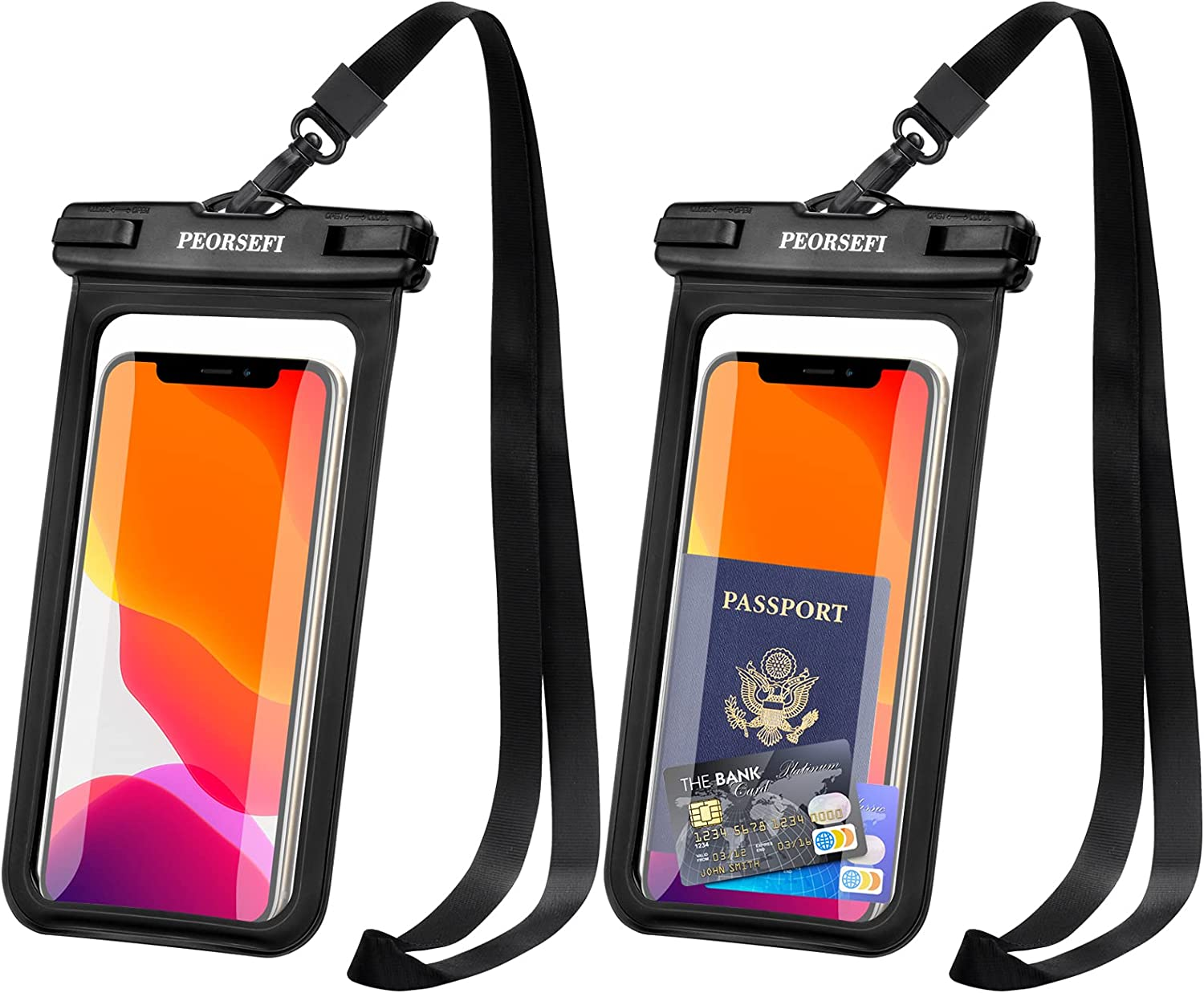 PEORSEFI Universal Waterproof Phone Pouch - iPhone Waterproof Case Compatible for iPhone Pro Max Xs Max XR X 8 7 6S Plus SE Samsung up to 7