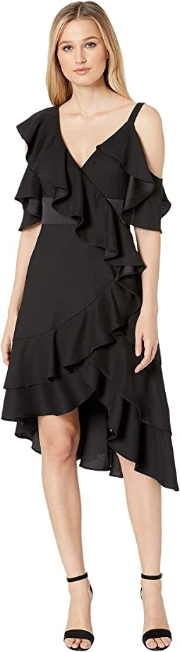 Crepe Back Satin Ruffle Cocktail Dress