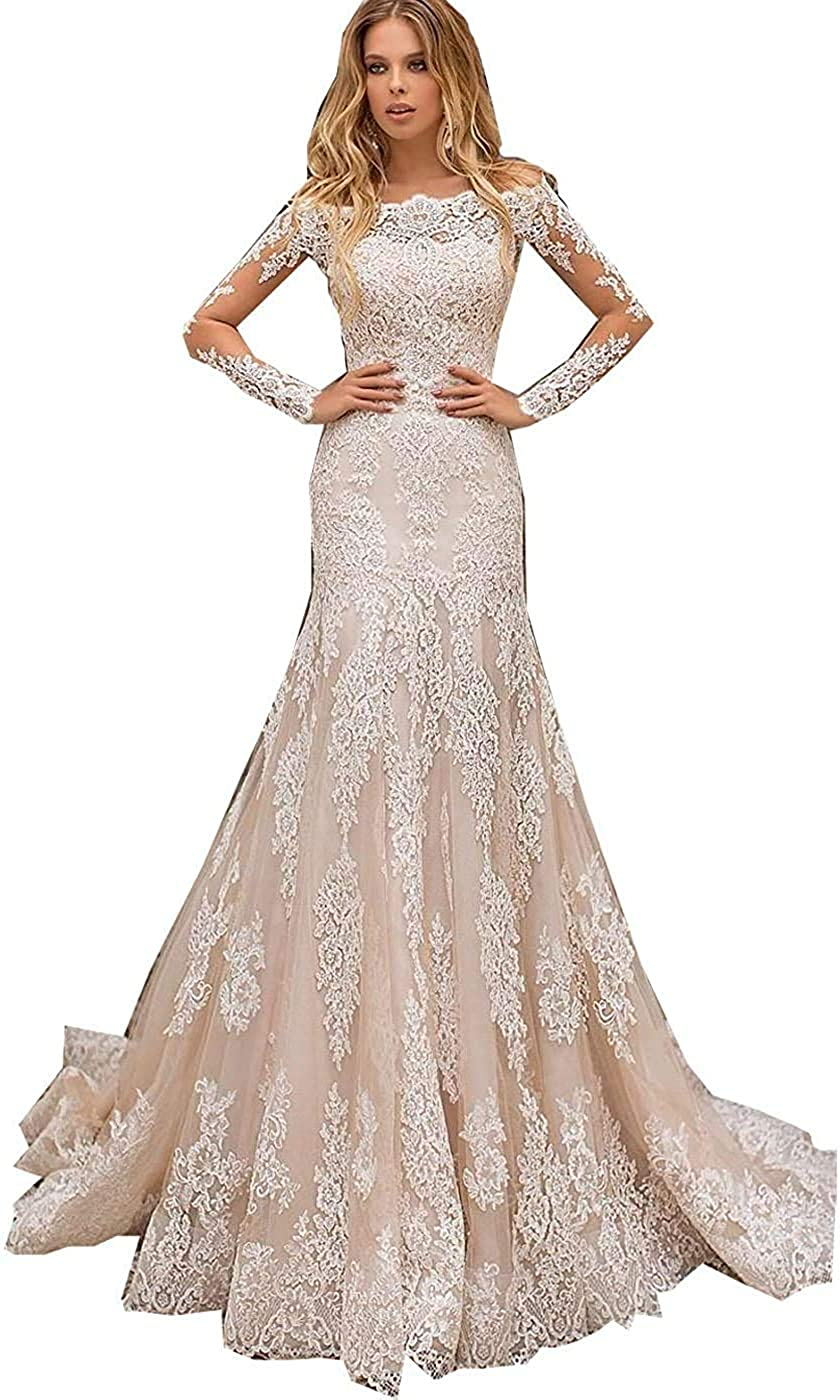 Mermaid Wedding Dresses for Bride 2020 Sweetheart Sleeveless White Ivory Lace Bridal Gowns with Beadings Beach Bridal Dress