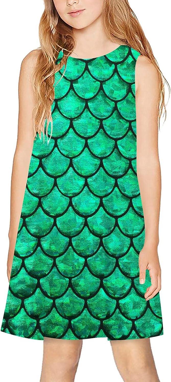 CAPINER 3D Print Girls Sleeveless Dress,Summer Green Fish Scale Casual Dress Crewneck