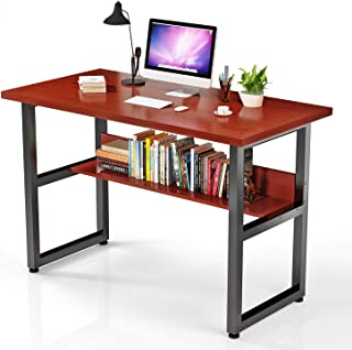 VIPEK Computer Desk with Bookshelf Office Desk with Bookends Workstation Modern Sturdy Writing Table for Office Furniture Soho Walnut Color 47