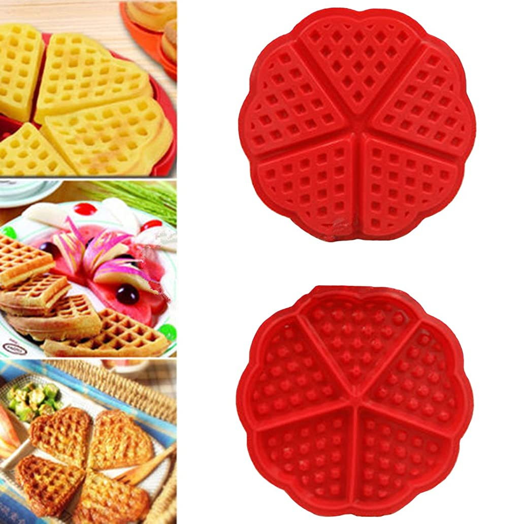 ZJCilected Heart-Shaped Silicone Waffle Mold Cake Cookie Muffin Chocolate Bakeware Baking Tool, Red htv6086802