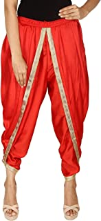 Red Color Satin Silk Dhoti Pant, Patiala Dhoti Salwar, Dhoti Trousers for Women, Girls
