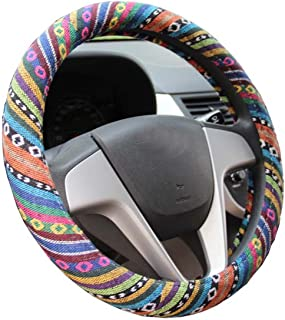 Mayco Bell 2016 Ethnic Style Coarse Flax Cloth Automotive Steering Wheel Cover Anti Slip and Sweat Absorption Auto Car Wrap Cover (C)