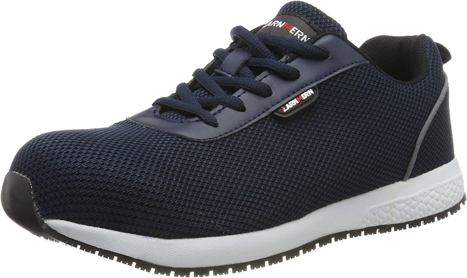 LARNMERN Mens Steel Toe Safety Trainers,LM-313 S1 SRC EH Flyknit Breathable Lightweight Reflective Work shoes with Arch Support(EH bluee, 9.5 UK)