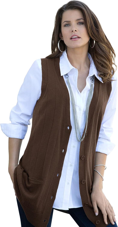 Roamans Women's Rapid rise Plus Size Some reservation Fine Needle Vest Drop Sweater Gauge