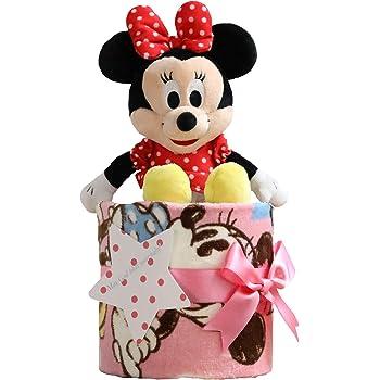 ディズニー disney おむつケーキ 出産祝い フェイスタオル ミニーマウス ぬいぐるみ ピンク 女の子 パンパース テープタイプ M