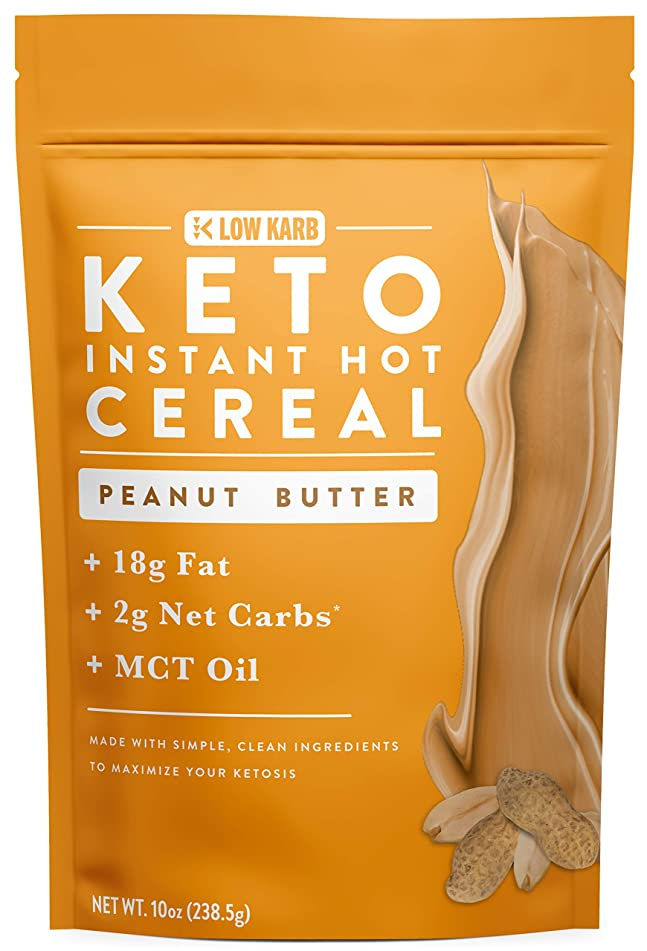 Keto Instant Hot Breakfast Cereal Peanut Butter with MCT Oil - 2g Net Carbs - Perfect Keto Diet Macros - Moderate Protein, High Fat - 10oz