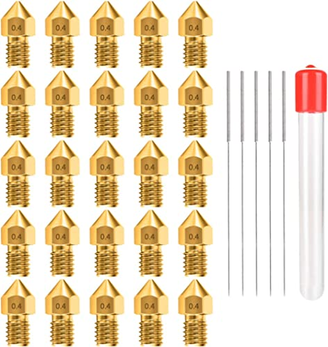 0.4MM MK8 Ender 3 Nozzles 25 pcs 3D Printer Brass Nozzles Extruder for Makerbot Creality CR-10 with 5 Needles and Met...
