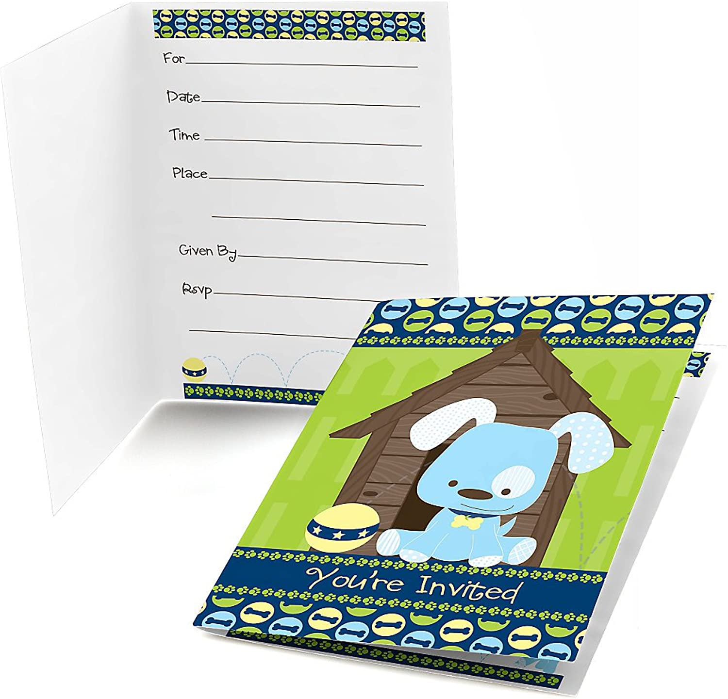 Boy Puppy Dog Fillin Party Invitations (8 count)