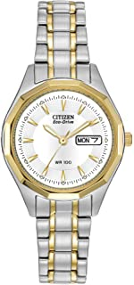Eco-Drive Corso Quartz Womens Watch, Stainless Steel, Classic, Two-Tone (Model: EW3144-51A)