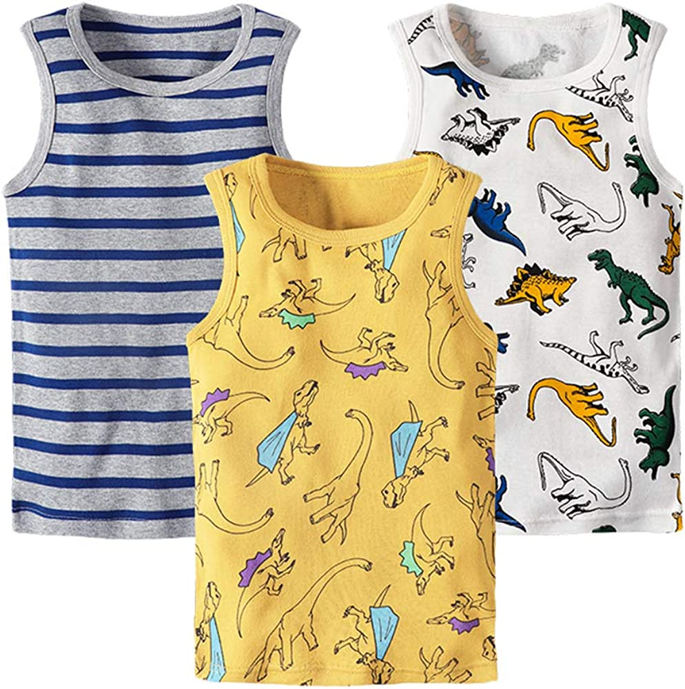 Huaer) Toddler Boys' 2-3 Pack Tank Tops (Yellow Dinosaur, 6T)