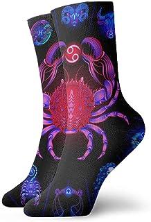 Hombres Mujeres Novedad Divertido Crazy Crew Sock Cáncer Horóscopo de neón Signos circulares Zodiaco Impreso Deporte Calcetines deportivos Calcetines personalizados de regalo